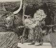 Емельянова А. Лист из серии графических работ по мотивам белорусской народной сказки. Бумага, карандаш, 20х18, 1999 г. (рук. Покровский В.Н.)