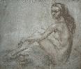 Нелепко Г. Сидящая обнаженная женская фигура. Тонированная бумага, соус, 60х70, 2006 г.
