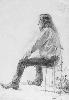 Рачицкий Д. Сидящая мужская одетая фигура. Бумага, карандаш, 1998 г.