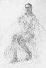Русачек И. Сидящая обнаженная женская фигура. Бумага, карандаш, 60х41, 1998 г.