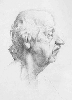 Рачицкий Д. Мужская голова, профиль. Бумага, карандаш, 61х43, 1998 г.
