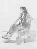 Юрьев С. Сидящая женская одетая фигура. Бумага, карандаш, 1998 г.