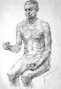 Седеневская С. Сидящая мужская обнаженная фигура. Бумага, карандаш, 2006 г.