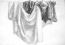 Смаль Э. Тональный рисунок драпировок. Бумага, карандаш, 2006 г.