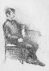 Рачицкий Д. Сидящая мужская одетая фигура. Бумага, карандаш, 60х40, 1998 г.