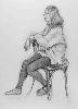 Колядко К. Сидящая женская одетая фигура. Бумага, карандаш, 79х61, 2001 г.
