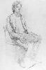 Рачицкий Д. Сидящая мужская одетая фигура. Бумага, карандаш, 86х61, 1998 г.