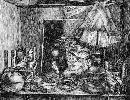 Лукашук И. «Портрет в интерьере». Бумага, тушь, перо, 1992 г.
