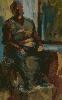 Новосадная И. Сидящая мужская одетая фигура. Картон, масло, 25х38, 2005 г.