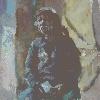 Очковская И. Сидящая мужская фигура. Холст, масло, 55х55, 2005 г.