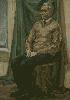 Седеневская С. Сидящая мужская одетая фигура. Холст, масло, 50х70, 2006 г.