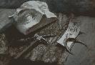Новосадная И. Натюрморт с гипсовой маской. Бумага, гуашь, 54х38, 2004 г.