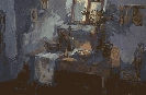 Буховко О. Интерьер комнаты. Бумага, гуашь, 53х36, 2005 г.